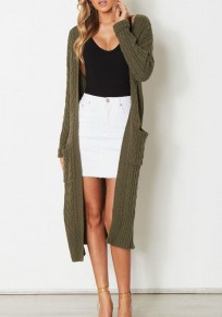 Army Green Pockets V-neck Long Sleeve Cardigan Sweater