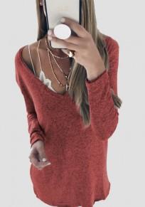 Rotes V-Ausschnitt Langarm Schulterfrei Strickpullover Günstige Sweater Damen Mode Sale