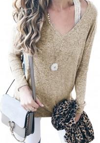 Khaki V-Ausschnitt Langarm Schulterfrei Oversize Strickpullover Sweater Damen Mode