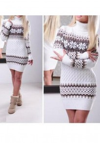 White Geometric Snowflake Print High Neck Long Sleeve Bodycon Sweet Sweater Mini Dress