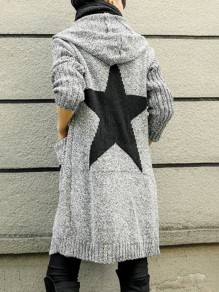 Light Grey Star Print Pockets Long Sleeve Hooded Fashion Long Cardigan Sweater