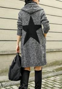 Dunkelgrau Star Druck Taschen Langarm Grobe Cardigan Strickjacke mit Kapuzen Mode Damen Strickmantel