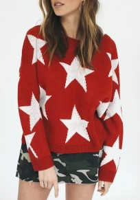 Red Star Print Cut Out High-low Side Slit Long Sleeve Cute Pullover Sweater 99b9e2291