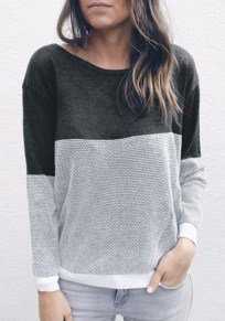 Grey Patchwork Cut Out Cross Back Round Neck Casual Pullover Sweater