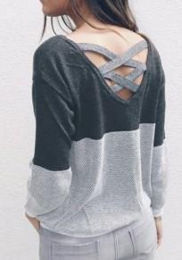 Pulóver corte espalda cruzada cuello redondo sin espalda gris