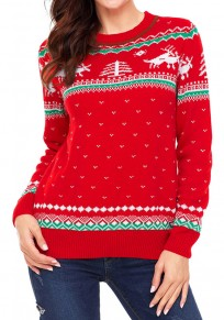 Red Floral Reindeer Round Neck Long Sleeve Christmas Cute Pullover Sweater