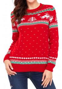 Noël jacquard pull géométrique rennes manches longues mignon femme rouge