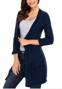 Navy Blue Pockets 3/4 Sleeve Casual Fashion Cardigan Sweater