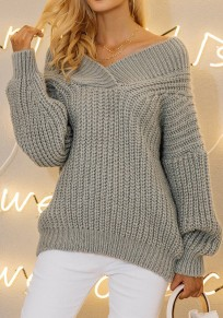 Grey Plunging Neckline Thick Fashion Pullover Sweater