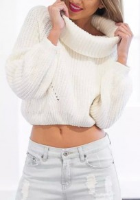 White Plain Crop Polo Neck Fashion Pullover Sweater