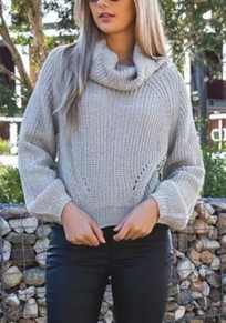 Light Grey Plain Crop Polo Neck Fashion Pullover Sweater