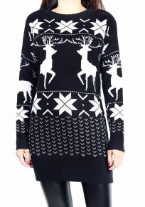 Black Reindeer Print Round Neck Long Sleeve Casual Christmas Long Pullover Sweater