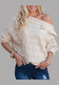 Beige Irregular Appliques Off Shoulder Knitwear Multi Way Long Sleeve Pullover Sweater