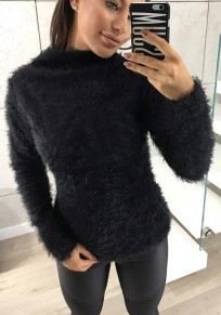 Black Mohair Bodycon Long Sleeve Fashion Pullover Sweater