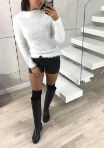 Pulóveres cuello redondo manga larga casuales blanco
