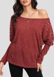 Red Irregular Off Shoulder Beading Oversize Dolman Sleeve Pullover Sweater