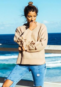 Khaki Lace-up Knit Long Sleeve Round Neck Fashion Pullover