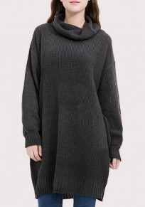 Dark Grey Pockets Band Collar High Neck Long Sleeve Pullover Sweater