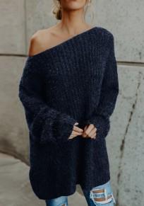 Blau One Shoulder Langarm Oversize Lässige Damen Schulterfreie Strickpullover