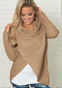 Khaki Studded Irregular Cowl Neck Long Sleeve Fashion Pullover Sweater