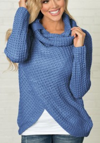 Jersey cuello de capucha irregulares tachonado manga larga moda azul