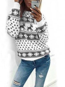 Grey Floral Snowflake Reindeer Christmas Round Neck Long Sleeve Cute Pullover Sweater