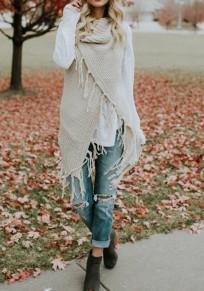 Cardigan uni mode acrylique pompon blanc
