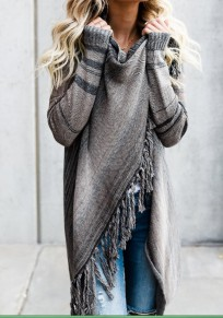 Grey Striped Print Irregular Tassel Oversize Cardigan Sweater