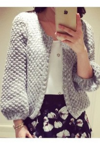 Grey Round Neck Long Sleeve Fashion Cardigan Sweater