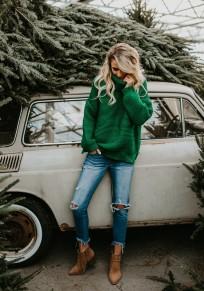 Jersey de gran tamaño manga larga cuello alto navidad casuales verde