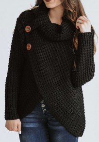 Black Irregular Buttons Cowl Neck Long Sleeve Fashion Cardigan Sweater