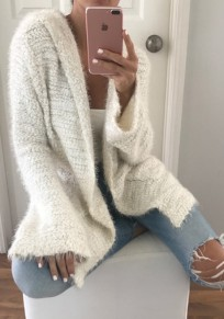 White Pockets Hooded Long Sleeve Fashion Cardigan Sweater