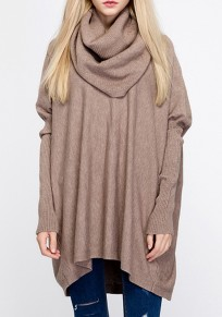 Khaki Band Collar High Neck Long Dolman Sleeve Pullover Sweater