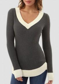 Graue Weiß V-Ausschnitt Langarm Winter Warme Pullover Damen Slim Strickpullover Günstig