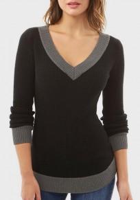 Black Patchwork V-neck Long Sleeve Pullover Sweater