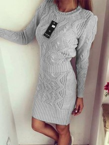 Grey Round Neck Long Sleeve Fashion Pullover Sweater