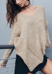 Apricot Irregular Zipper Oversize Long Sleeve Pullover Sweater