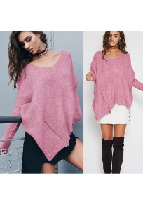 Pink Zipper Irregular Round Neck Casual Pullover Sweater