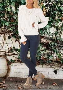 White Ruffle Round Neck Flare Sleeve Slouchy Casual Pullover Sweater