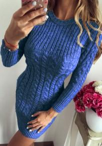Pulóveres impresión cuello redondo moda azul