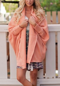Pink Plain Irregular Ruffle Collar Long Sleeve Casual Cardigan Sweater