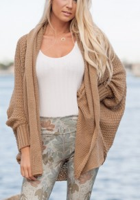 Khaki Plain Irregular Ruffle Collar Long Sleeve Casual Cardigan Sweater