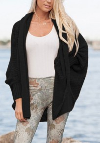 Black Plain Irregular Ruffle Collar Long Sleeve Casual Cardigan Sweater