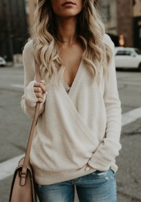White Deep V-neck Slouchy Casual Going out Pullover Sweater