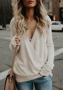 Gros pull en maille irrégulière croisé décolleté v-cou manches longues décontracté femme blanc
