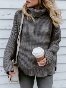 Grey Oversize High Neck Casual Going out Knitted Pullover Sweater