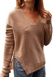 Khaki Side Slit Oversize V-neck Casual Going out Pullover Sweater
