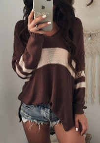 Coffee Striped Print Slit Oversize V-neck Long Sleeve Pullover Sweater
