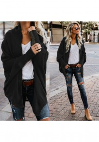 Black Plain Irregular Long Sleeve Casual Cardigan Sweater