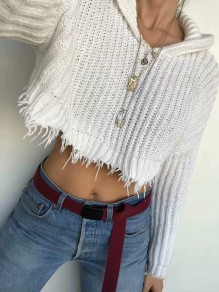 White Crop Tassel Hooded V-neck Fashion Knit Sweater